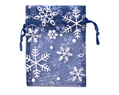Sheer Organza Pouches 3x4 Navy Blue Snowflakes