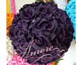 Lapis Deep Purple  Silk Pomander Kissing Ball Wedding 8 inches