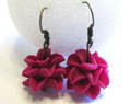 Handmade Polymer Clay Earrings Fuchsia Bridesmaid