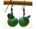 Handmade Polymer Clay Earrings Green Apple