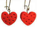 Handmade Polymer Clay Earrings Doted Red Heart Valentine's Day