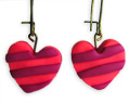 Handmade Polymer Clay Earrings Pink Heart With Stripes Valentine's Day