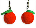Handmade Polymer Clay Orange Earrings Valentine's Day