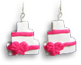Handmade Polymer Clay Earrings Wedding - Birthday Cake Valentine's Day