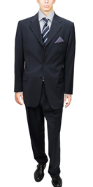 Signature Collection Mens Suit 3 Button Modern Business Fit Navy Suit