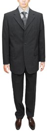 Signature Collection Mens Suit 3 Btn Modern Business Fit Charcoal Gray