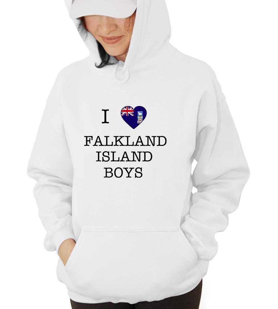 I Love Falkland Island Boys Hooded Sweatshirt