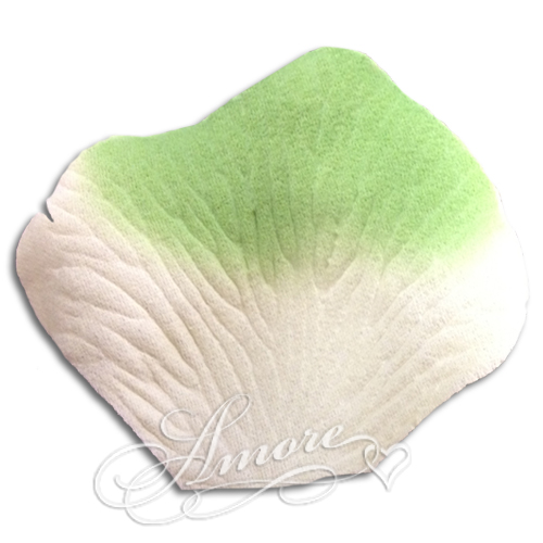 1000 Wedding Silk Rose Petals Green Light-Ivory
