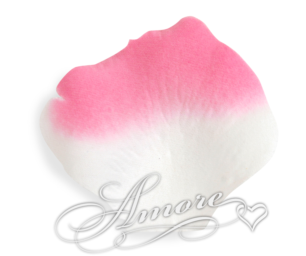 4000 Silk Rose Petals Flamingo-White and Fuchsia