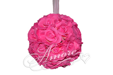 Fuchsia Silk Pomander Kissing Ball Wedding 12 inches