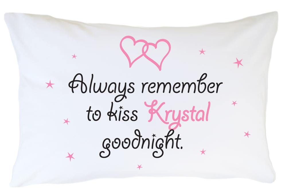 Personalized Pillow case Set Goodnight Kiss