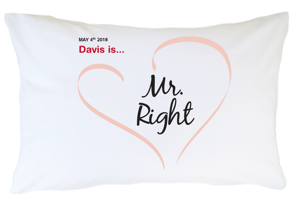 Personalized Pillow Case Set - Mr. and Mrs. Right