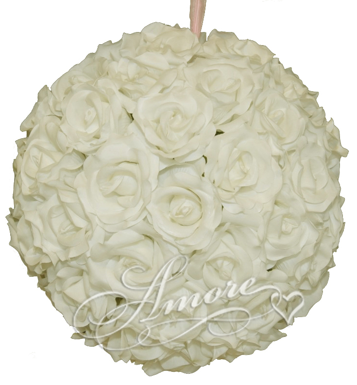 12 inches Silk Pomander Kissing Ball Light Ivory