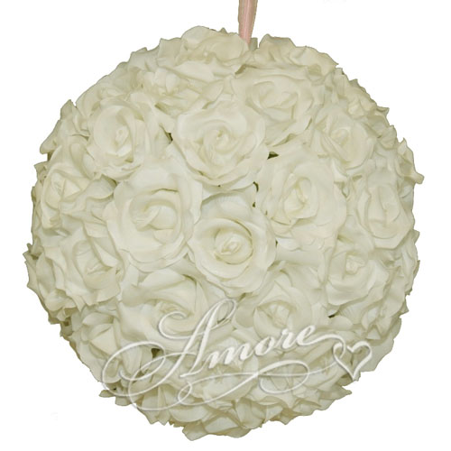 Light Ivory Silk Pomander Kissing Ball Wedding 8 inches