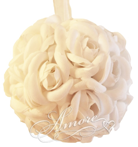 Light Ivory  Silk Pomander Kissing Ball Wedding 6 inches