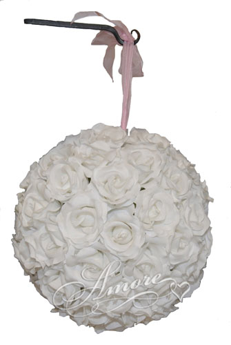 White  Silk Pomander Kissing Ball Wedding 6 inches