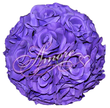 Purple Plum  Silk Pomander Kissing Ball Wedding 6 inches