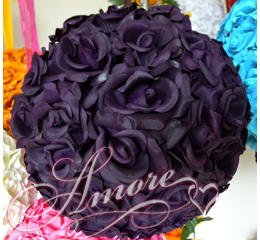 Lapis Deep Purple  Silk Pomander Kissing Ball Wedding 12 inches