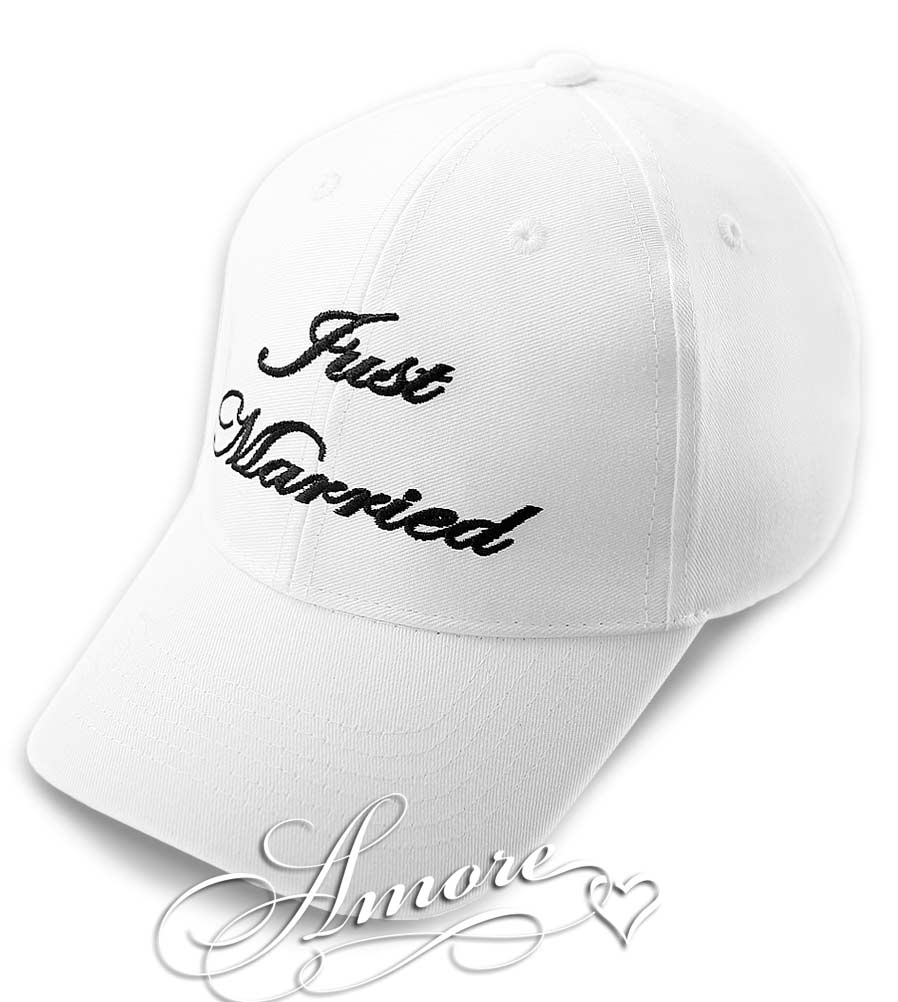 Just Married Wedding Baseball Cap  Bride and Groom  WHITE HAT
