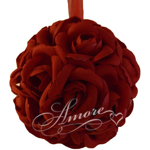 Burgundy Silk Pomander Kissing Ball Wedding 6 inches