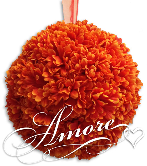 Burnt Orange Gerbera Daisy Silk Pomander Kissing Ball 12 inches