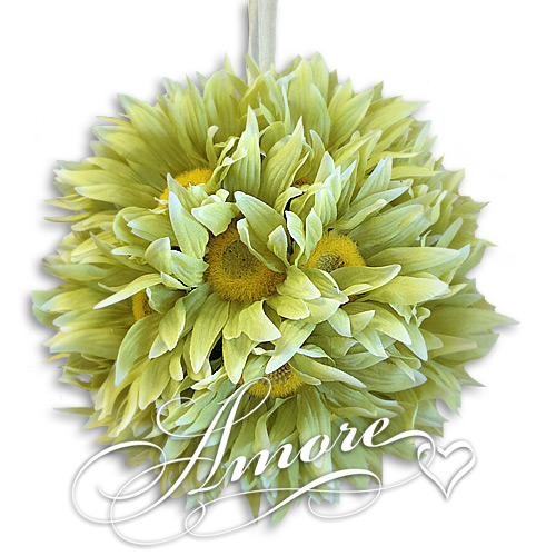 8 inches Silk Pomander Kissing Ball Gerbera Daisy Green