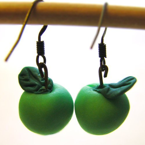Green Apple Handmade Polymer Clay Earrings