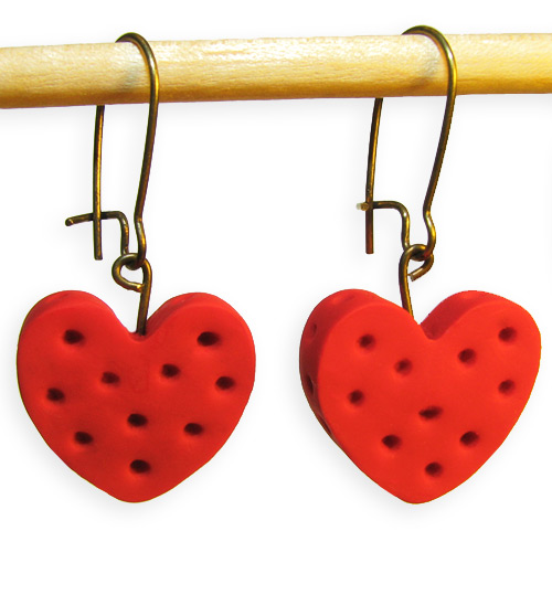 Red Heart Valentines Day Handmade Polymer Clay Earrings