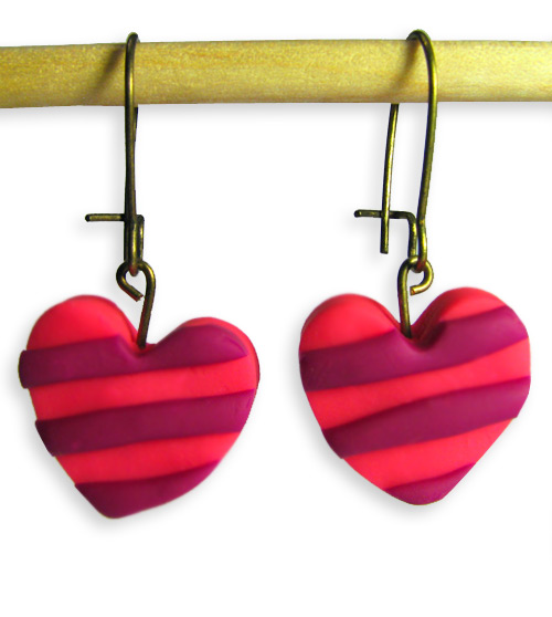 Pink Heart with Stripes Valentines Day Handmade Polymer Clay Earrings