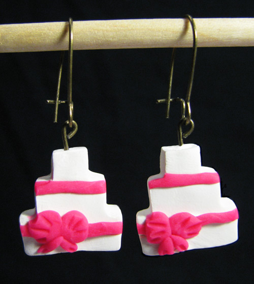 Birthday Wedding Cake Handmade Polymer Clay Earrings