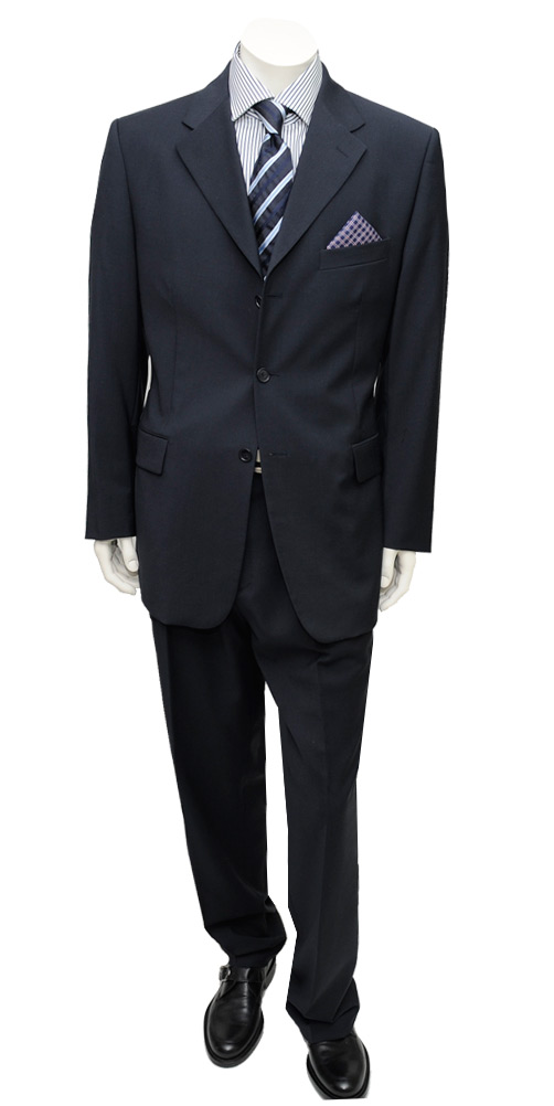 Wedding / Graduation Mens Suit 3 Button Modern Business Fit Navy Suit