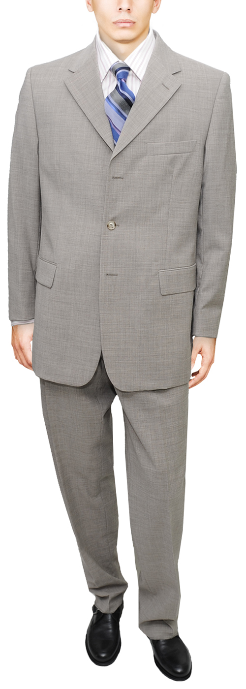 Signature Collection Mens Suit 3 Button Modern Business Fit Slate Suit