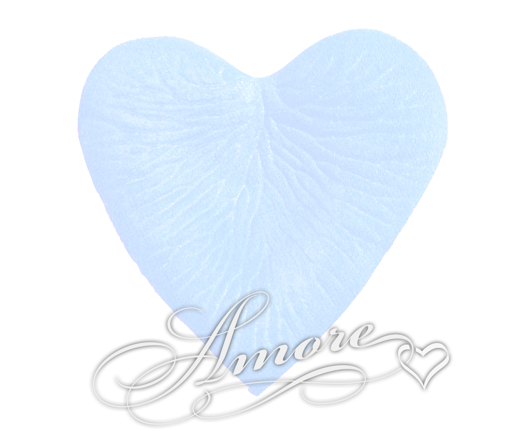 200 Silk Rose Petals HEART shape Blue sky