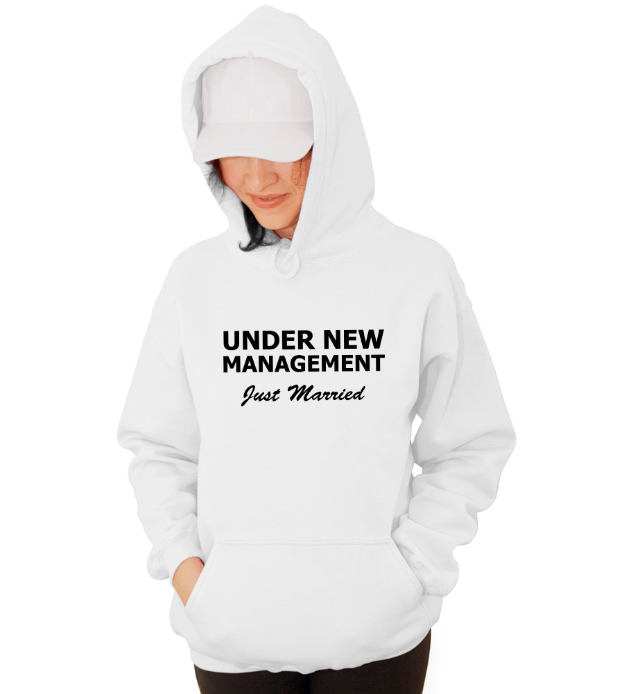 Under New Management Just Married Wedding Hooded Sweatshirt