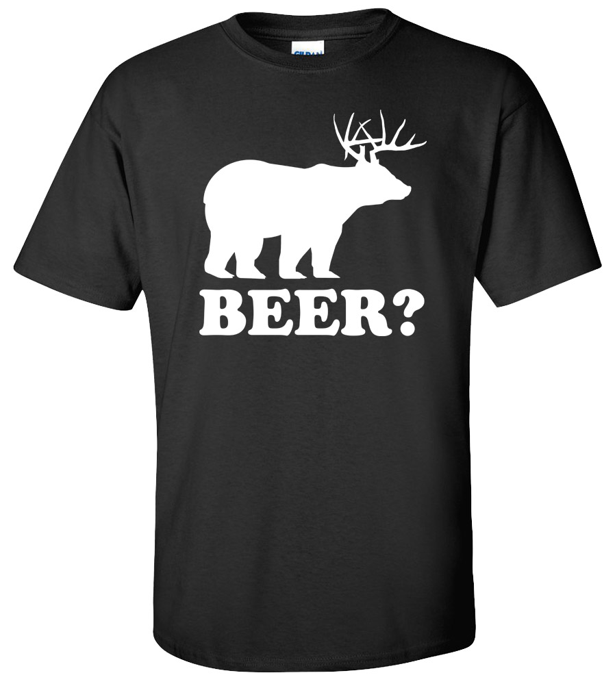Beer T-shirt Drunk Bear Deer Offensive Animal Rude Funny College Tee