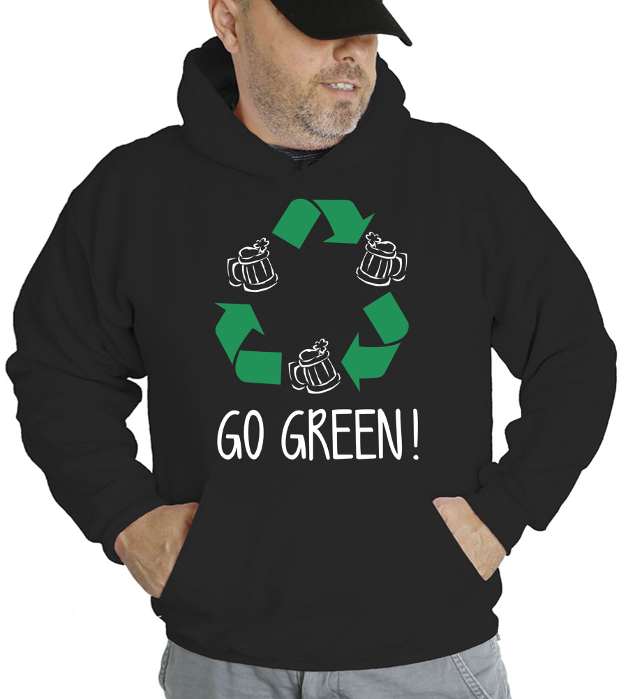 Saint Patrick's Day Go Green Hooded Sweatshirt