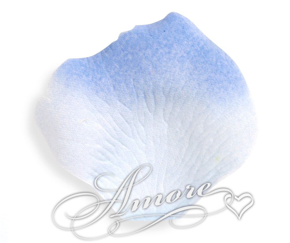 600 Silk Roses Petals Tropical Blue-Cornflower 2 Tones