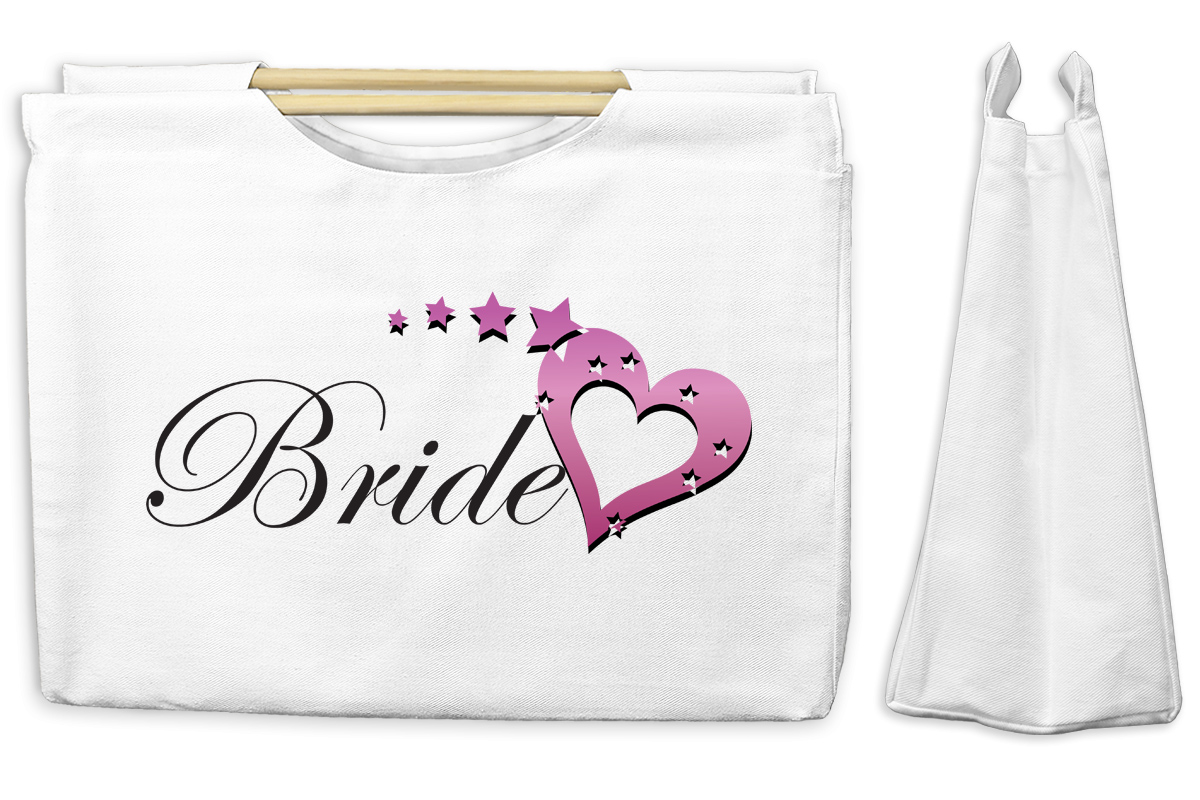 Bride Canvas Tote with Wooden Handles Bag