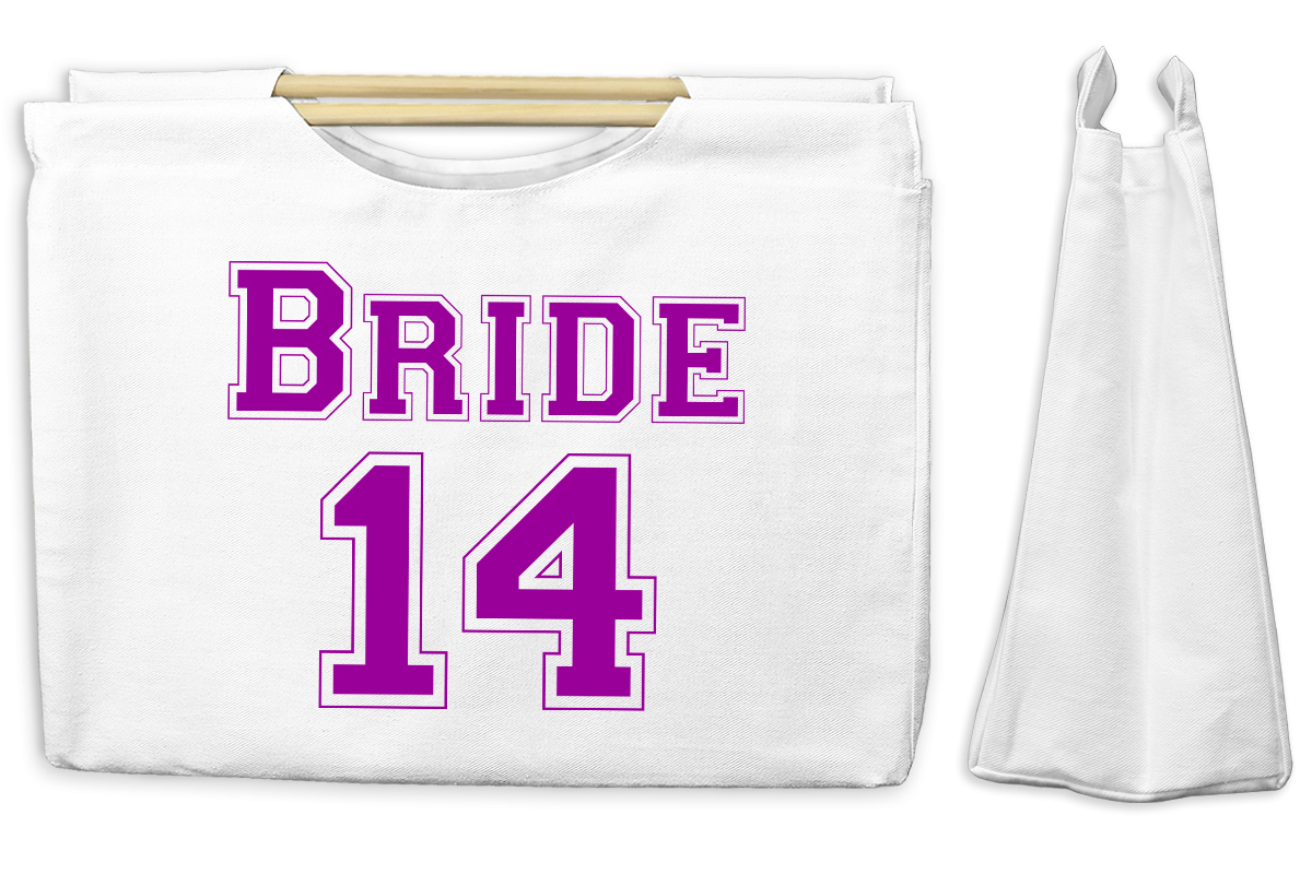 Bride 14 Canvas Tote with Wooden Handles Bag