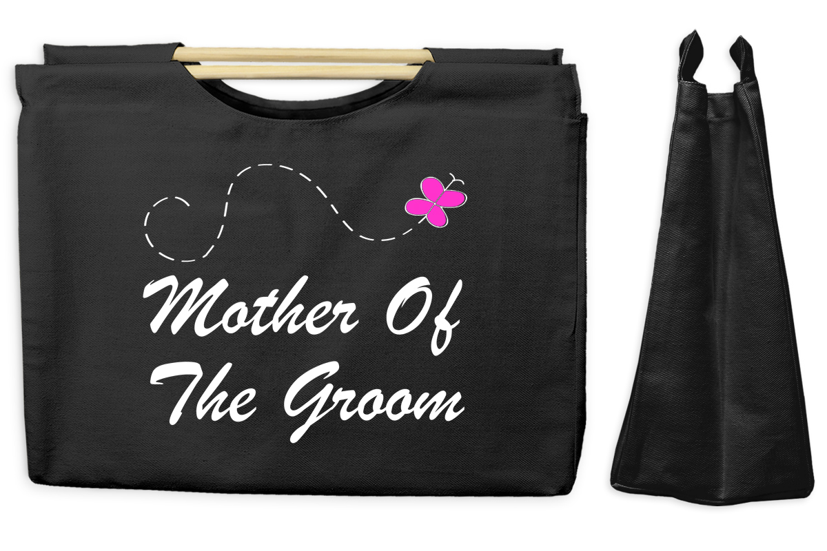 Mother of the Groom Canvas Tote with Wooden Handles Bag