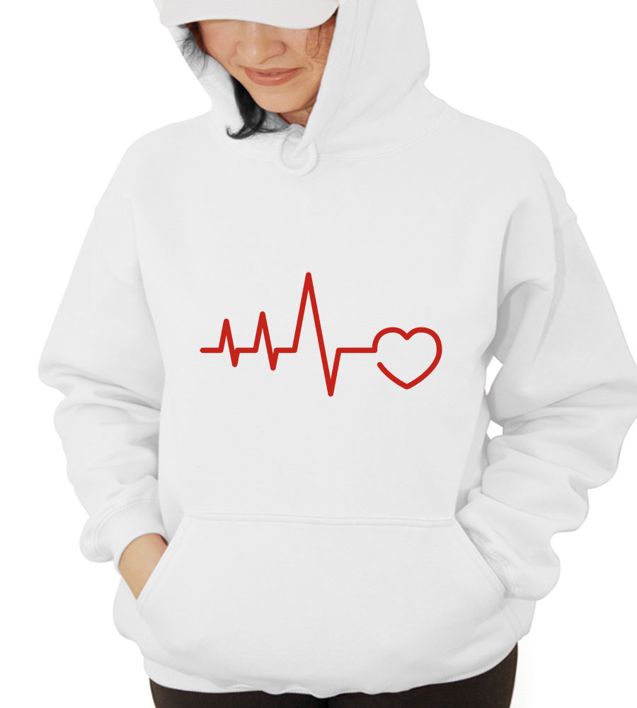 EKG Heart Hooded Sweatshirt
