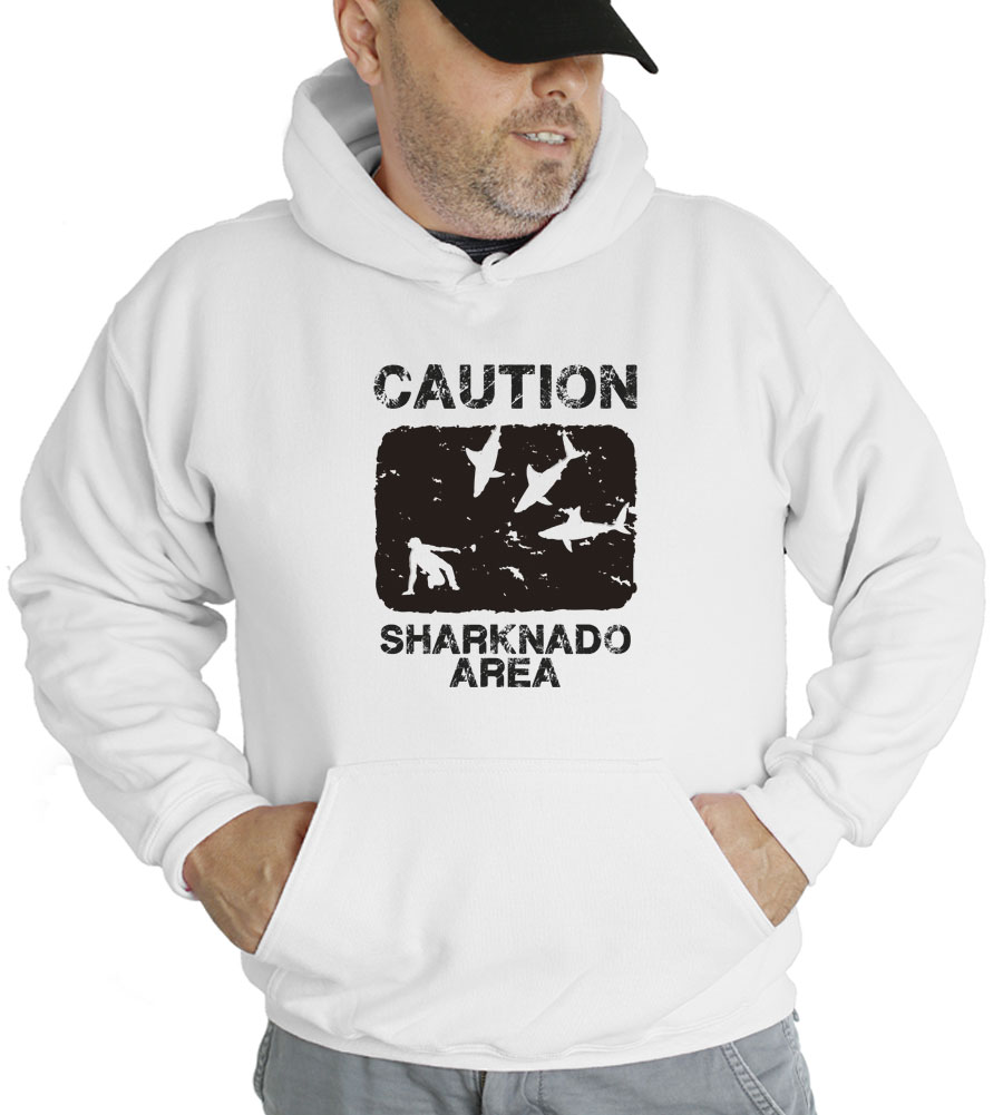 Caution Sharknado Area Hooded Sweatshirt