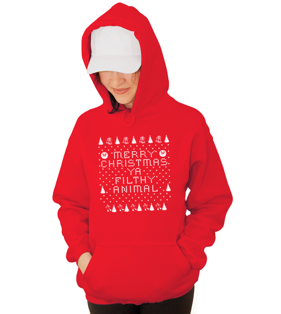 Merry Christmas Ya Filthy Animal Hooded Ugly Sweatshirt