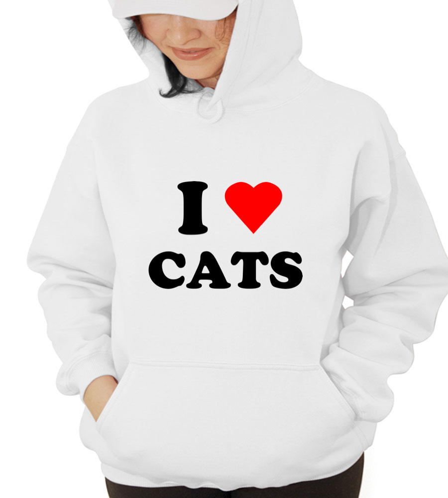 I Love Cats Hooded Sweatshirt