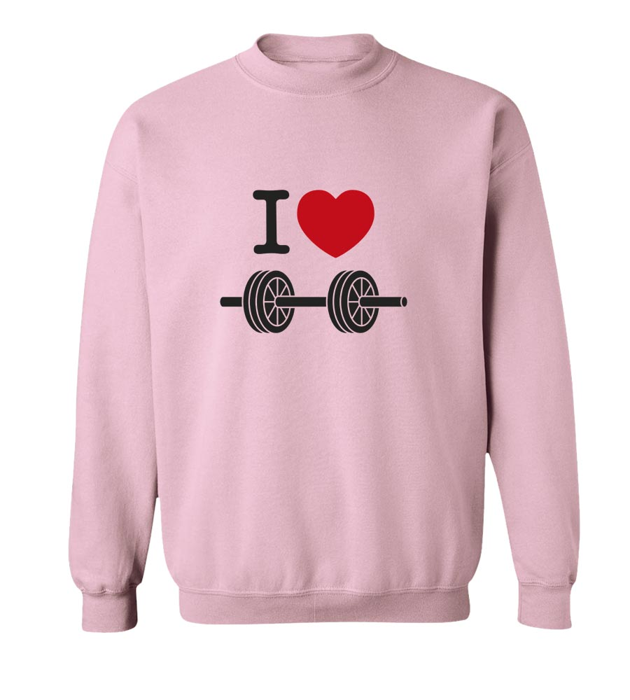I Love Weights Crew Neck Sweatshirt