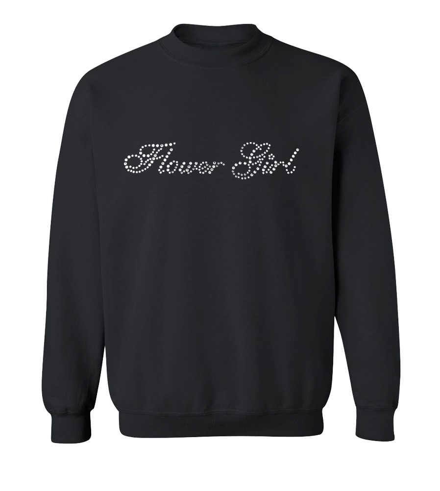 Flower Girl Rhinestones Wedding Crew Neck Sweatshirt