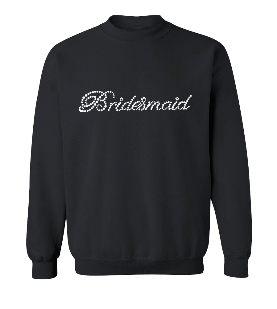Bridesmaid Rhinestones Wedding Crew Neck Sweatshirt