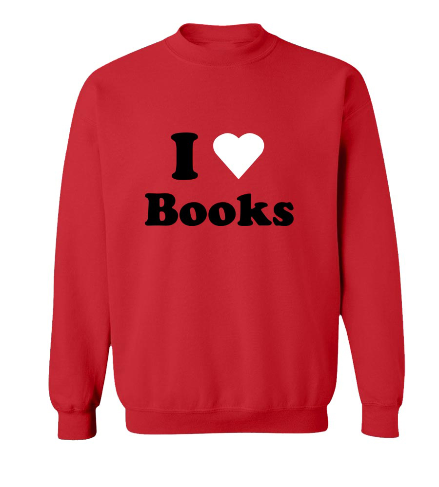 I Love Books  Crew Neck Sweatshirt