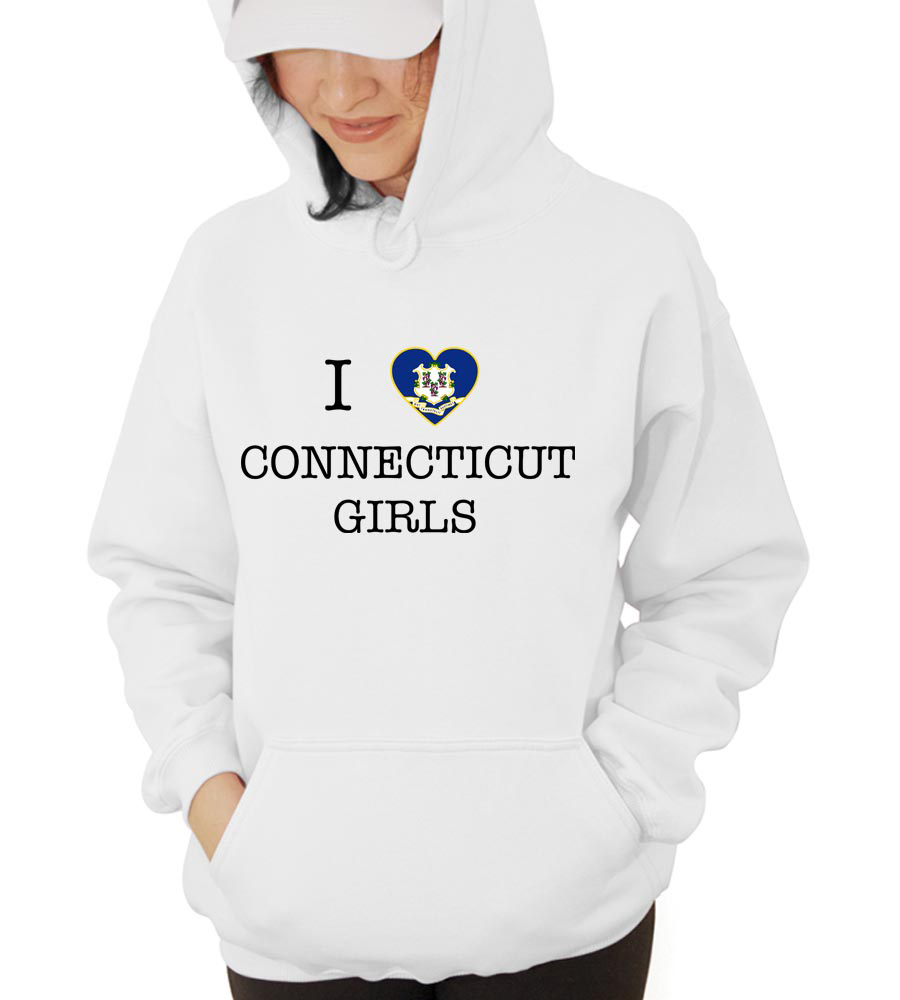 I Love Connecticut Girl Hooded Sweatshirt