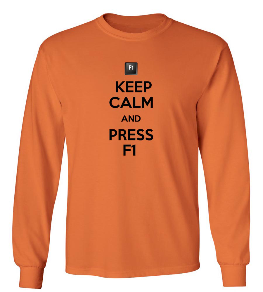Keep Calm And Press F1 Long Sleeve T-Shirt